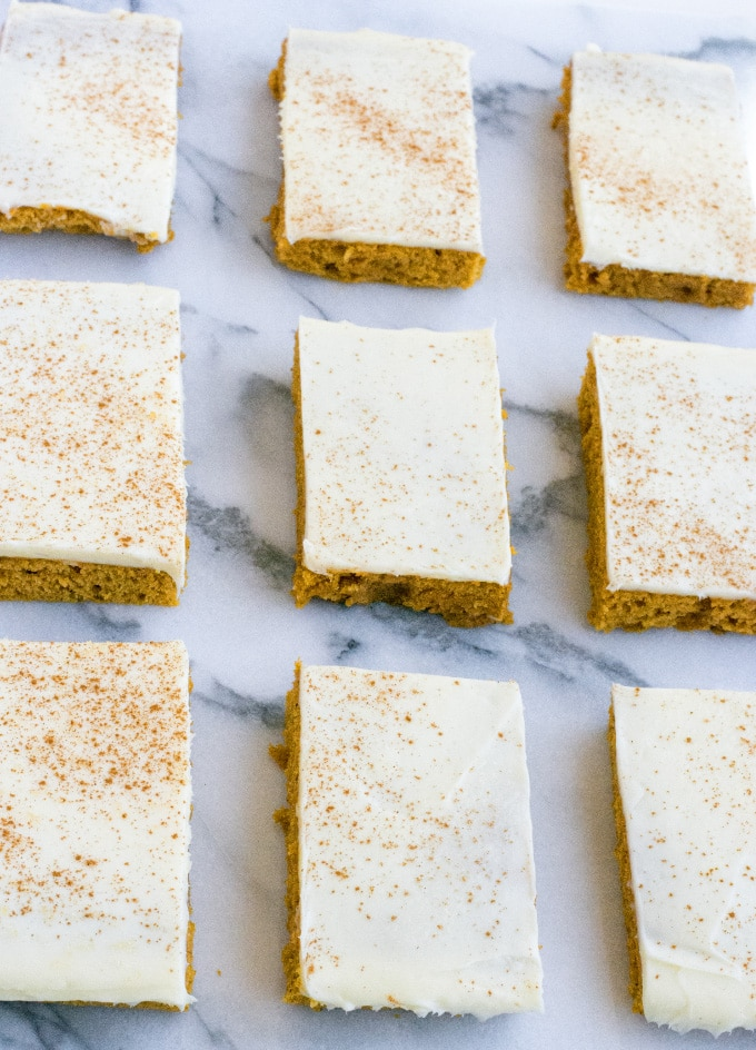 Pumpkin Spice Sheet Cake with Bourbon Cream Cheese Frosting