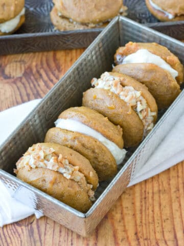Pumpkin Whoopie Pies with Bourbon Cream Cheese Frosting
