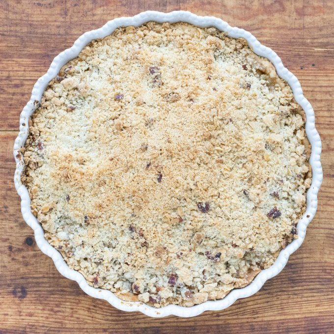 Bourbon Pear Pie with Oat Pecan Crumble