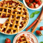 Strawberry Rhubarb Basil Balsamic Pie