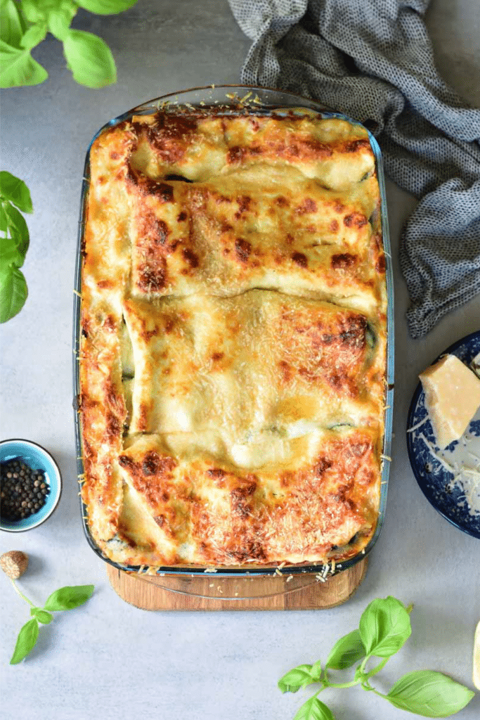 Vegetarian lasagna with zucchini and spinach