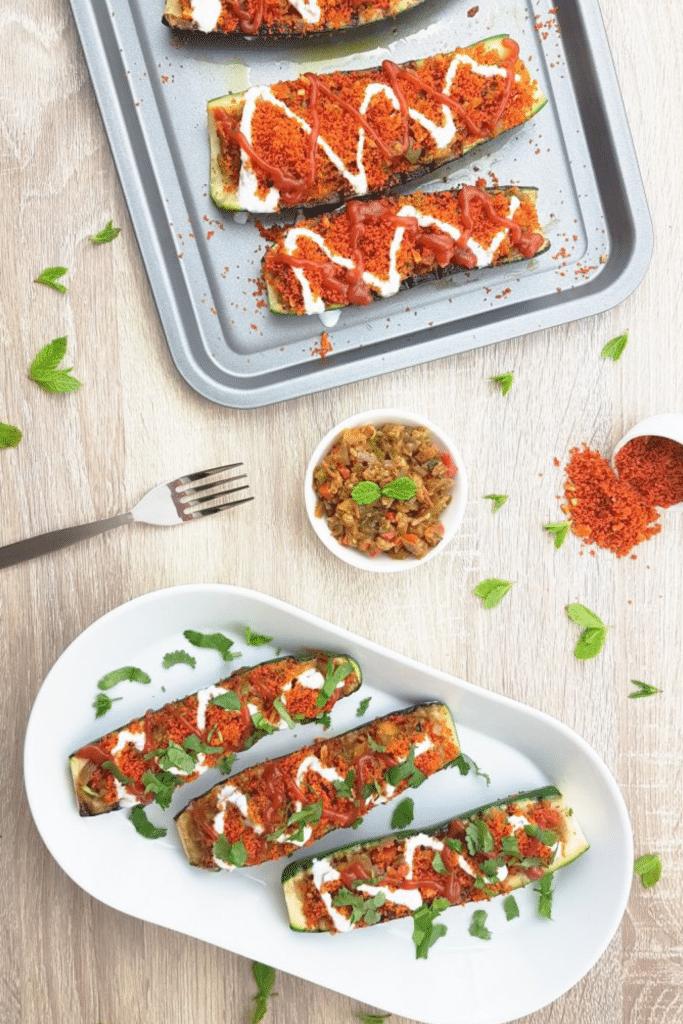 Vegetarian Stuffed Zucchini Boats