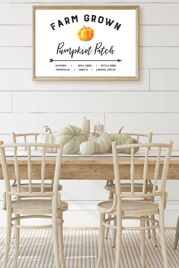 Free Fall Farmhouse Printables Watercolor Pumpkin Patch Sign