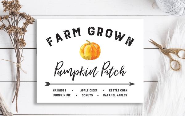 Watercolor Pumpkin Patch Sign Free Fall Downloads Farmhouse