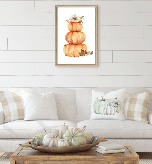 Free Fall Farmhouse Downloads Watercolor Stacked Pumpkins