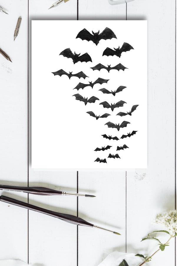 Watercolor Bats Free Fall Printables Farmhouse