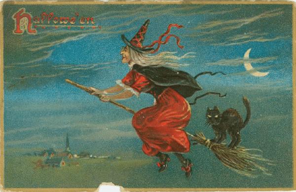 Free vintage witch halloween art