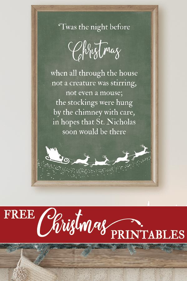 'Twas the Night Before Christmas Free Printable Sign