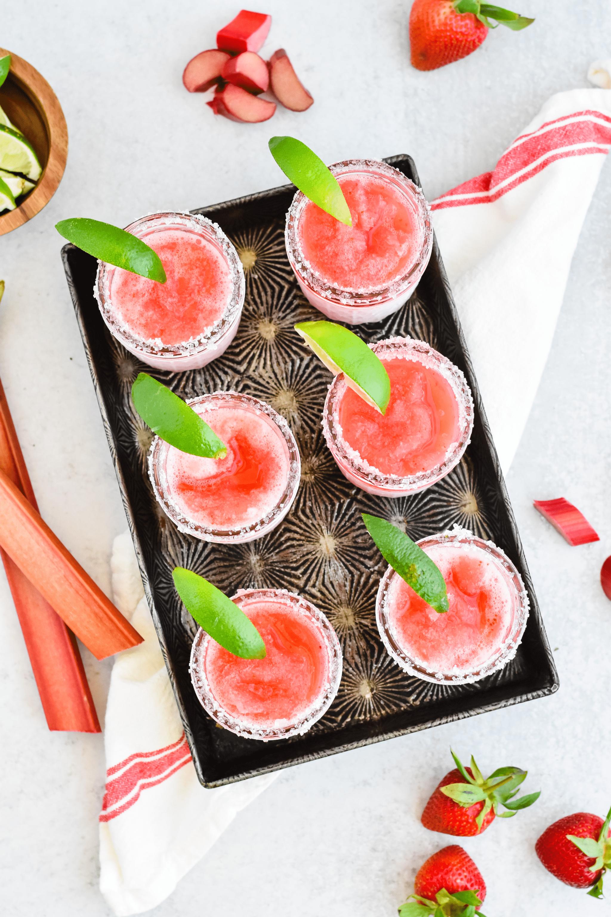 Strawberry Rhubarb Frozen Margaritas Recipe